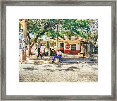 Village Street Scene Framed Print