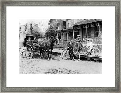 Village Street Scene Framed Print by Underwood Archives