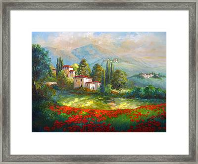Village With Poppy Fields  Framed Print