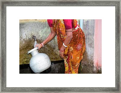 Villagers On Island In The Sunderbans Framed Print by Ashley Cooper