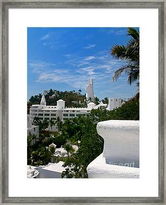 Villas On A Hillside In Manzanillo Mexico Framed Print by Amy Cicconi