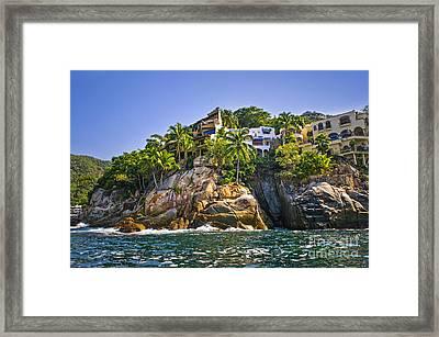 Villas On Rocks Framed Print