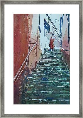 Villiage Stairs Framed Print by Jenny Armitage