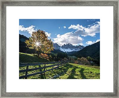 Villnoess Valley In The Dolomites Framed Print by Martin Zwick
