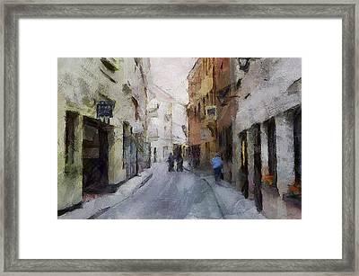 Vilnius Old Street Walk 3 Framed Print by Yury Malkov