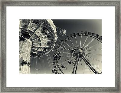 Vintage Carousel And Ferris Wheel Bw At The Octoberfest In Munich Framed Print