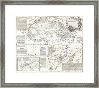 Vinatge Old World Map Of Africa Framed Print by Inspired Nature Photography Fine Art Photography