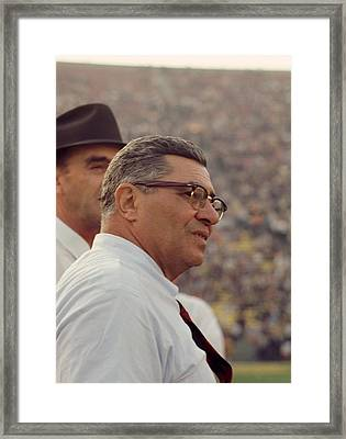 Vince Lombardi Coaching Framed Print by Retro Images Archive