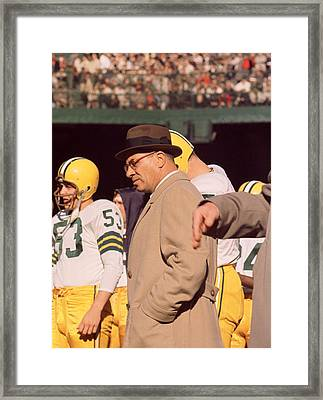 Vince Lombardi In Trench Coat Framed Print