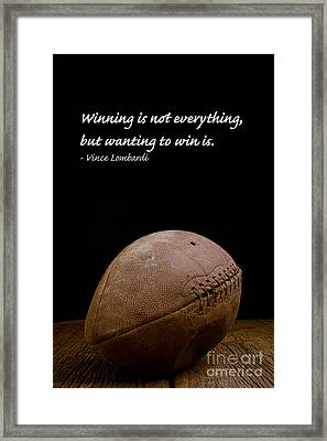 Vince Lombardi On Winning Framed Print by Edward Fielding