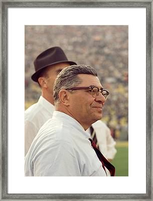 Vince Lombardi Surveying The Field Framed Print