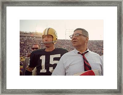 Vince Lombardi With Bart Starr Framed Print