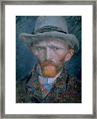 Vincent Van Gogh Self-portrait Bust With Brown Jacket And Gray Hat Framed Print by Vincent Van Gogh