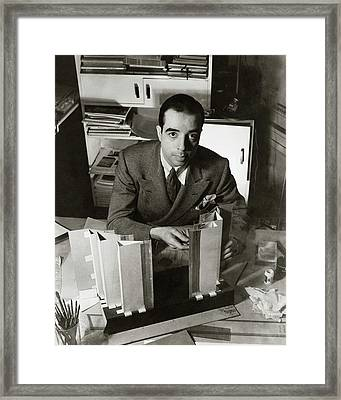 Vincente Minnelli Sitting At His Desk Framed Print by Lusha Nelson