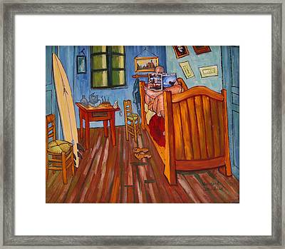 Vincents Bedroom In Arles For Surfers-amadeus Series Framed Print by Dominique Amendola