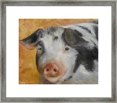Framed Print featuring the painting Vindicator Pig Painting by Cheri Wollenberg