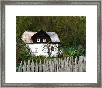 Vine Covered Cottage With Rustic Wooden Picket Fence Framed Print