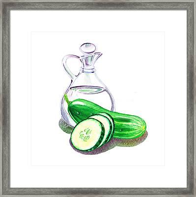 Vinegar Bottle And Cucumbers Framed Print