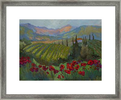 Vineyard And Red Poppies Framed Print by Diane McClary
