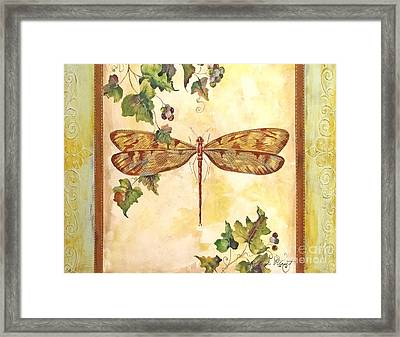 Vineyard Dragonfly Framed Print by Jean Plout