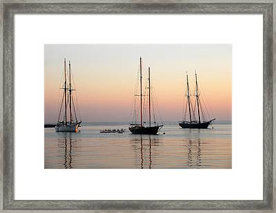 Framed Print featuring the photograph Vineyard Harbor Sunrise by Dan Myers