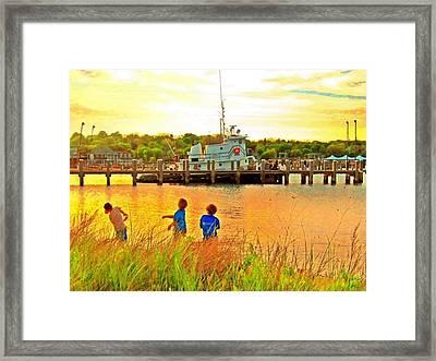 Vineyard Haven Beach Boys - Horizontal 2 Framed Print