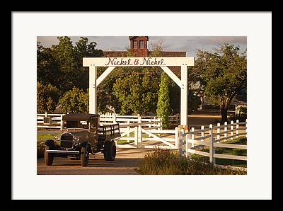 Vintage Truck Wood Railed Flatbed Fence Posts White Fence Wooden Farm Framed Prints