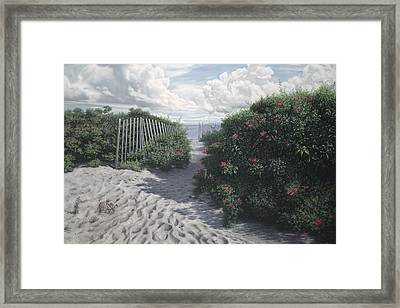 Vineyard View Roses Framed Print by Julia O'Malley-Keyes