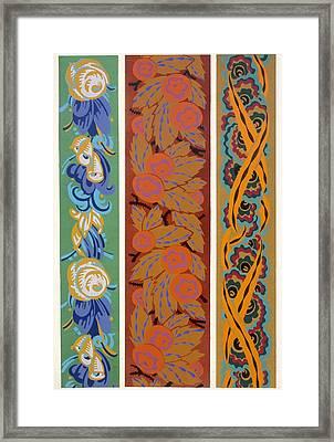 Vingt Planches En Couleurs Contenant Soixante-sept Motifs Decoratifs Framed Print