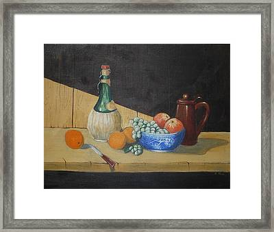 Vino And Fruit Framed Print by Anthony Ross