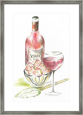Vino With Strawberries Framed Print by Teresa White