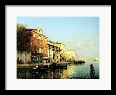 Boats At Dock Digital Art Framed Prints
