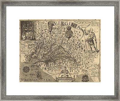 Vintage 1606 Virginia Map Framed Print
