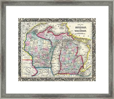 Vintage 1860 Michigan Map Framed Print by Dan Sproul