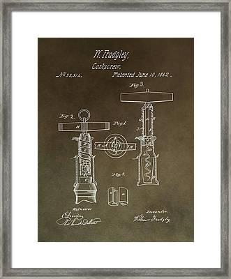 Vintage 1862 Corkscrew Patent Framed Print by Dan Sproul