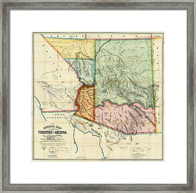 Vintage 1865 Arizona Territory Map Framed Print