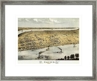 Vintage 1867 Cairo Illinois Map Framed Print by Stephen Stookey