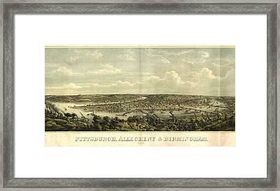 Vintage 1874 Pittsburgh Aerial Map Framed Print by Dan Sproul