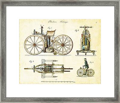 Vintage 1885 Daimler Reitwagen First Motorcycle Framed Print by Nikki Marie Smith