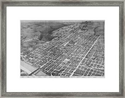 Vintage 1887 Austin Texas Map Framed Print by Stephen Stookey