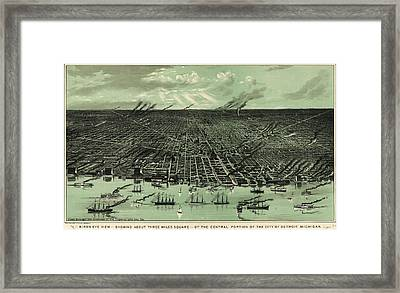 Vintage 1889 Detroit Michigan Map Framed Print by Dan Sproul