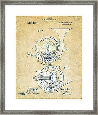Vintage 1914 French Horn Patent Artwork Framed Print by Nikki Marie Smith