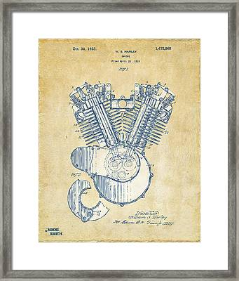 Vintage 1923 Harley Engine Patent Artwork Framed Print by Nikki Marie Smith