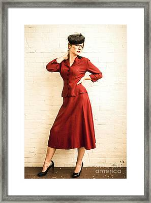 Vintage 1940's Style Fashion Plate Framed Print by Diane Diederich