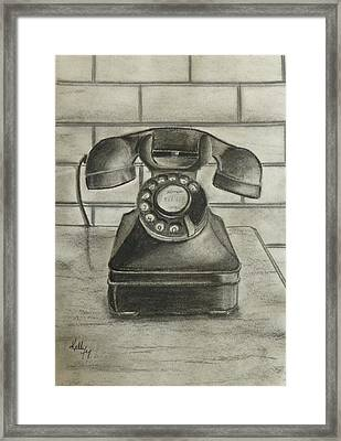 Framed Print featuring the drawing Vintage 1940's Telephone by Kelly Mills