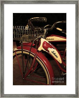 Vintage 1941 Boys And 1946 Girls Bicycle 5d25760 Vertical Sepia2 Framed Print by Wingsdomain Art and Photography
