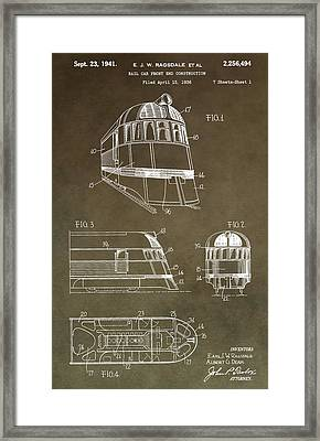 Vintage 1941 Train Patent Framed Print by Dan Sproul