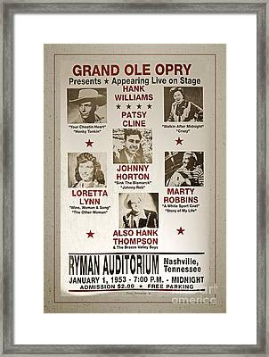 Vintage 1953 Grand Ole Opry Poster With Border Framed Print by John Stephens