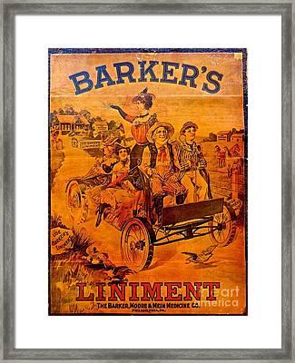 Vintage Ad Barker's Liniment Framed Print