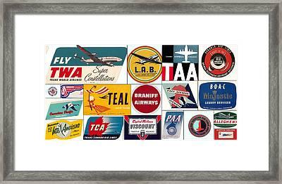 Vintage Airlines Logos Framed Print by Don Struke